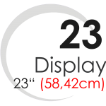 "Displays 23"" (58,42cm)"